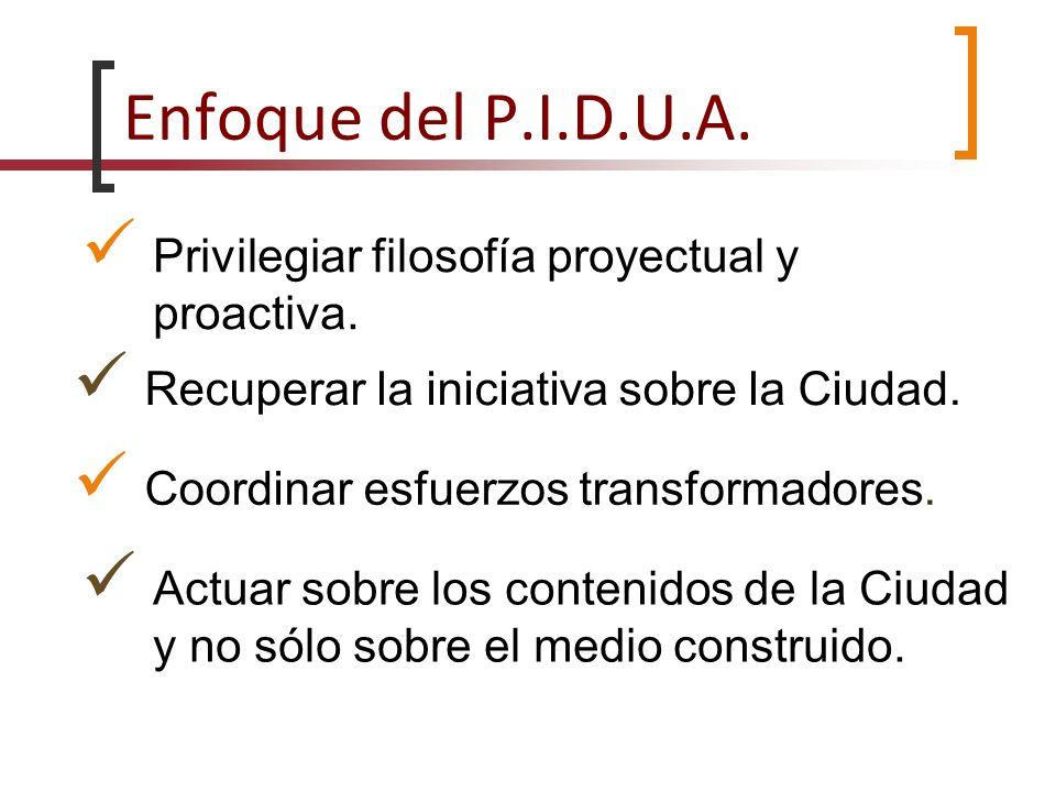 Enfoque del P.I.D.U.A. Privilegiar filosofía proyectual y proactiva. Recuperar la iniciativa sobre la Ciudad. Coordinar esfuerzos transformadores. Act