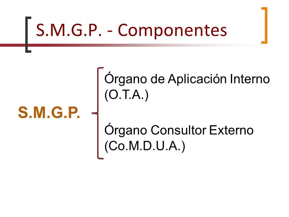 S.M.G.P. - Componentes S.M.G.P. Órgano de Aplicación Interno (O.T.A.) Órgano Consultor Externo (Co.M.D.U.A.)
