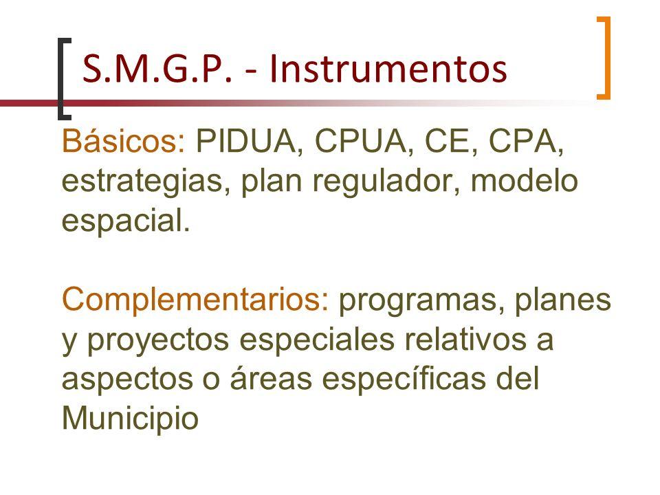 Básicos: PIDUA, CPUA, CE, CPA, estrategias, plan regulador, modelo espacial. Complementarios: programas, planes y proyectos especiales relativos a asp