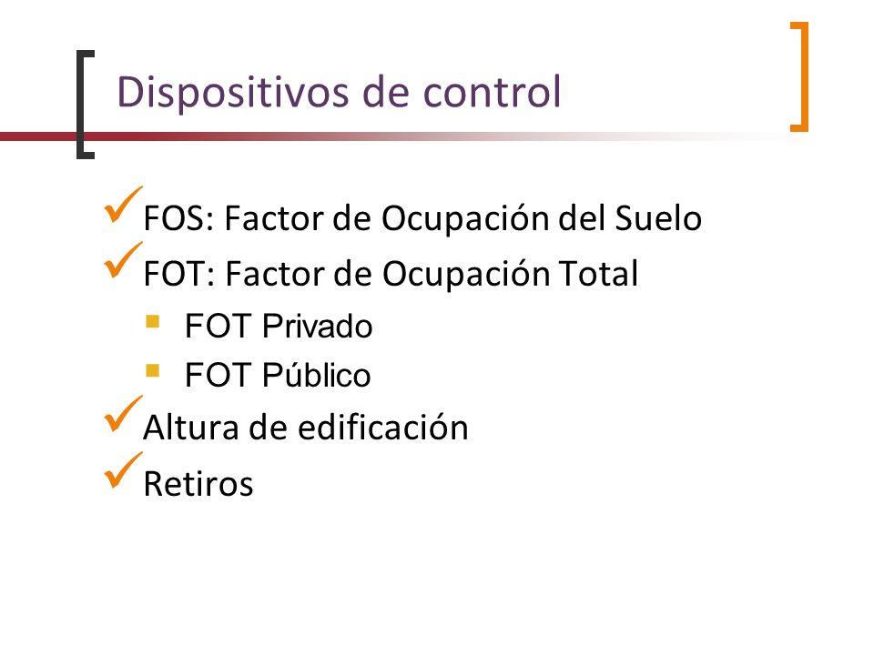 Dispositivos de control FOS: Factor de Ocupación del Suelo FOT: Factor de Ocupación Total FOT Privado FOT Público Altura de edificación Retiros