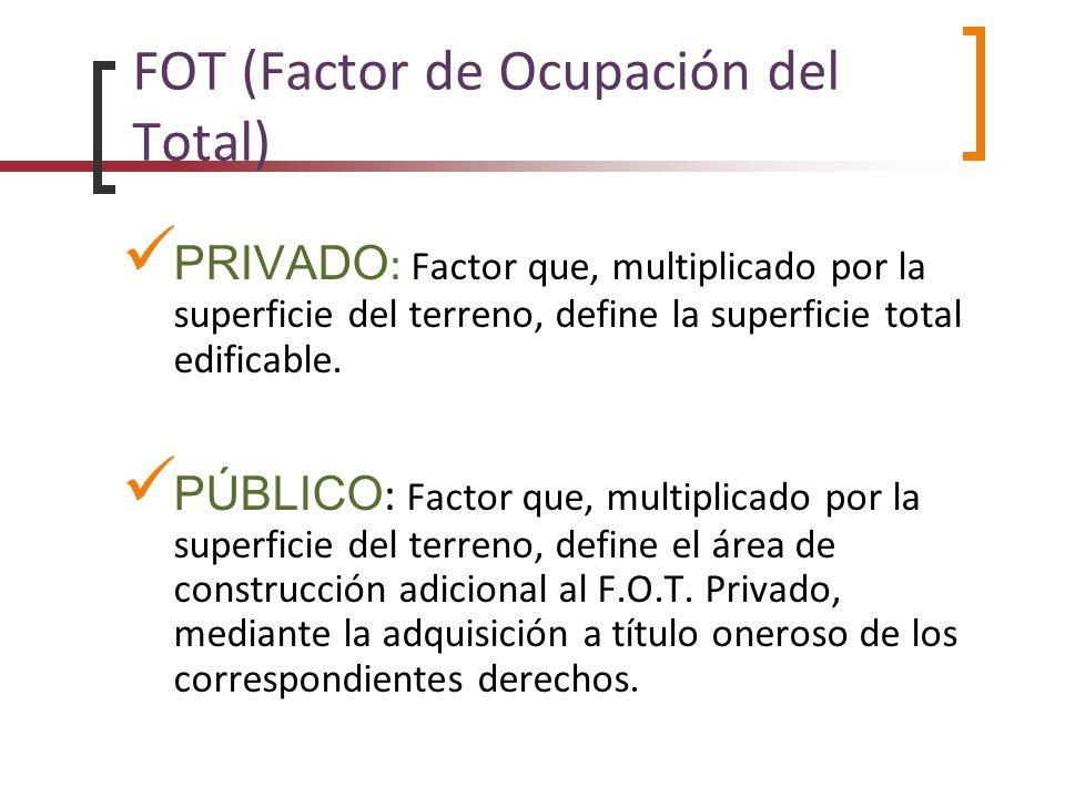 FOT (Factor de Ocupación del Total) PRIVADO : Factor que, multiplicado por la superficie del terreno, define la superficie total edificable. PÚBLICO :
