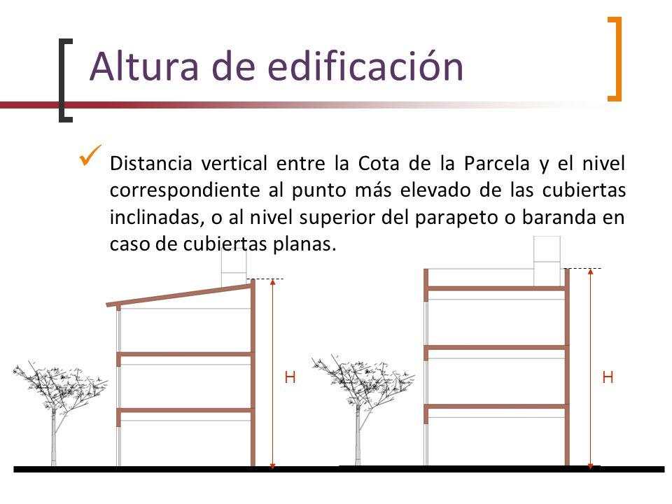 Altura de edificación Distancia vertical entre la Cota de la Parcela y el nivel correspondiente al punto más elevado de las cubiertas inclinadas, o al