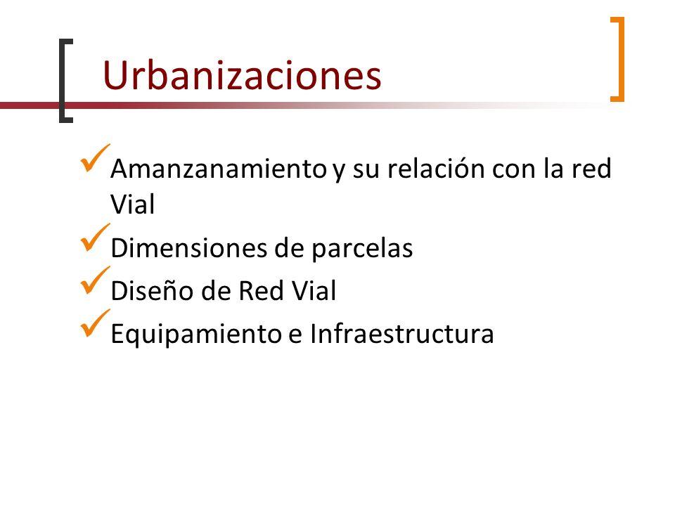 Urbanizaciones Amanzanamiento y su relación con la red Vial Dimensiones de parcelas Diseño de Red Vial Equipamiento e Infraestructura