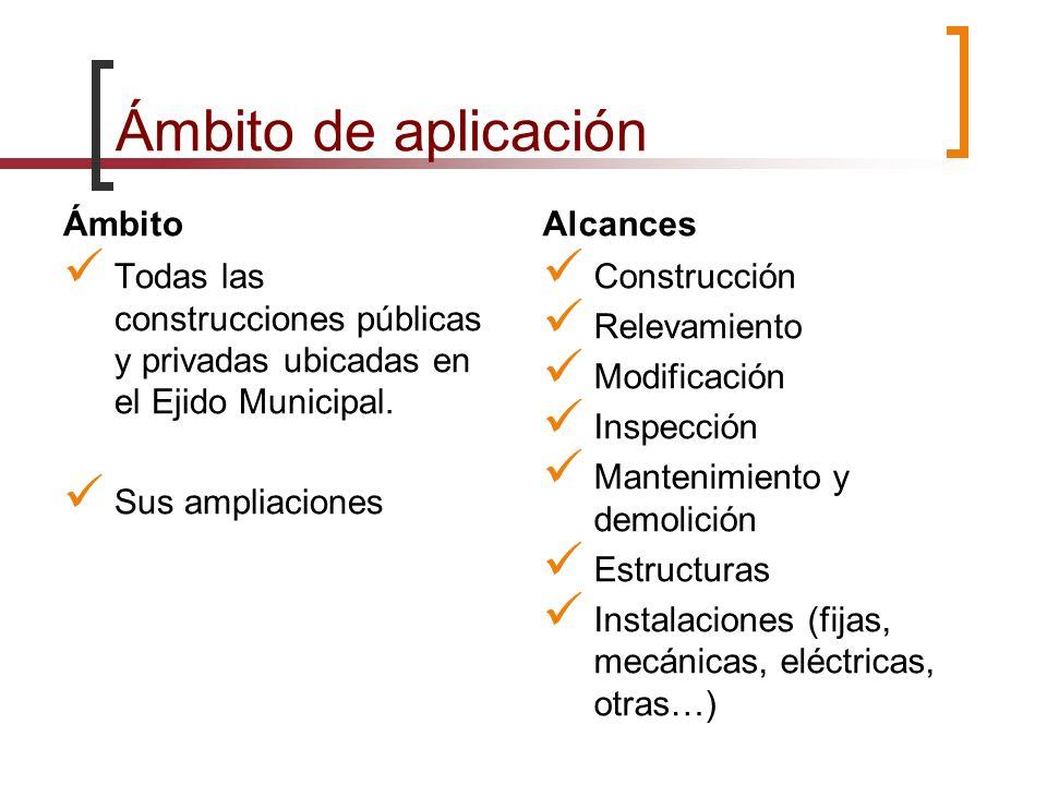 Ámbito de aplicación Ámbito Todas las construcciones públicas y privadas ubicadas en el Ejido Municipal. Sus ampliaciones Alcances Construcción Releva