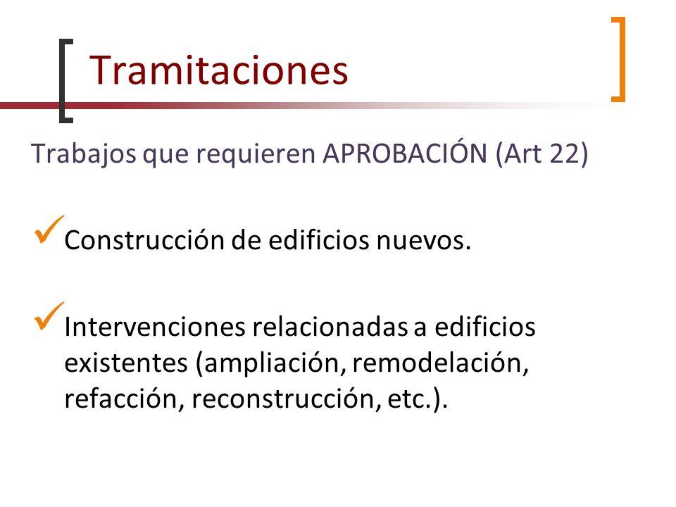 Tramitaciones Trabajos que requieren APROBACIÓN (Art 22) Construcción de edificios nuevos. Intervenciones relacionadas a edificios existentes (ampliac