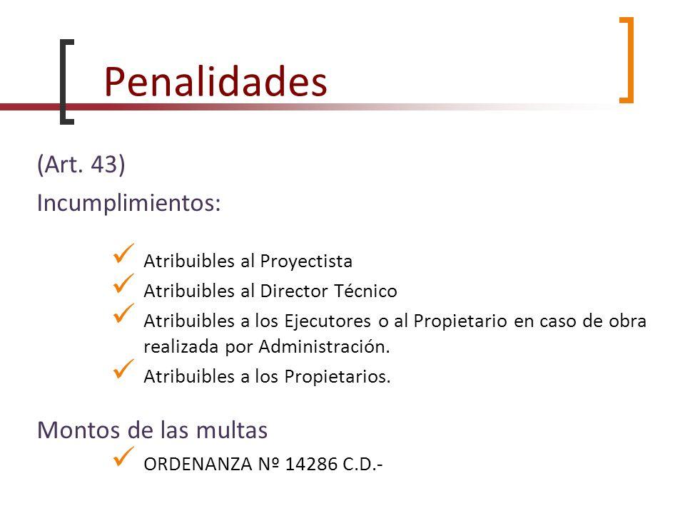 Penalidades (Art. 43) Incumplimientos: Atribuibles al Proyectista Atribuibles al Director Técnico Atribuibles a los Ejecutores o al Propietario en cas