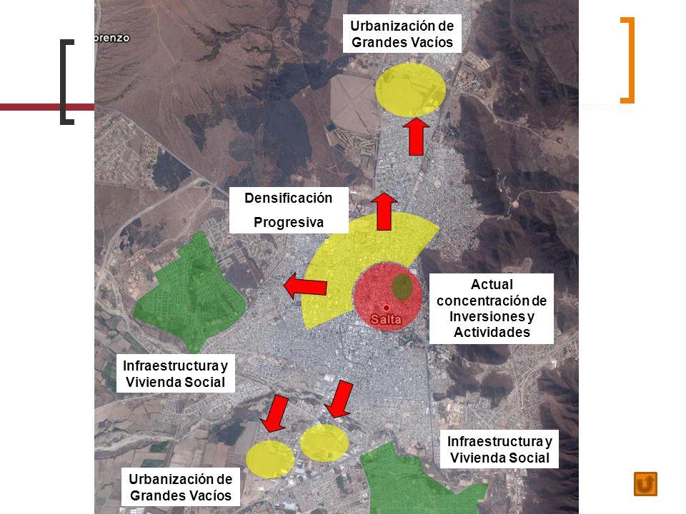 Densificación Progresiva Urbanización de Grandes Vacíos Actual concentración de Inversiones y Actividades Infraestructura y Vivienda Social