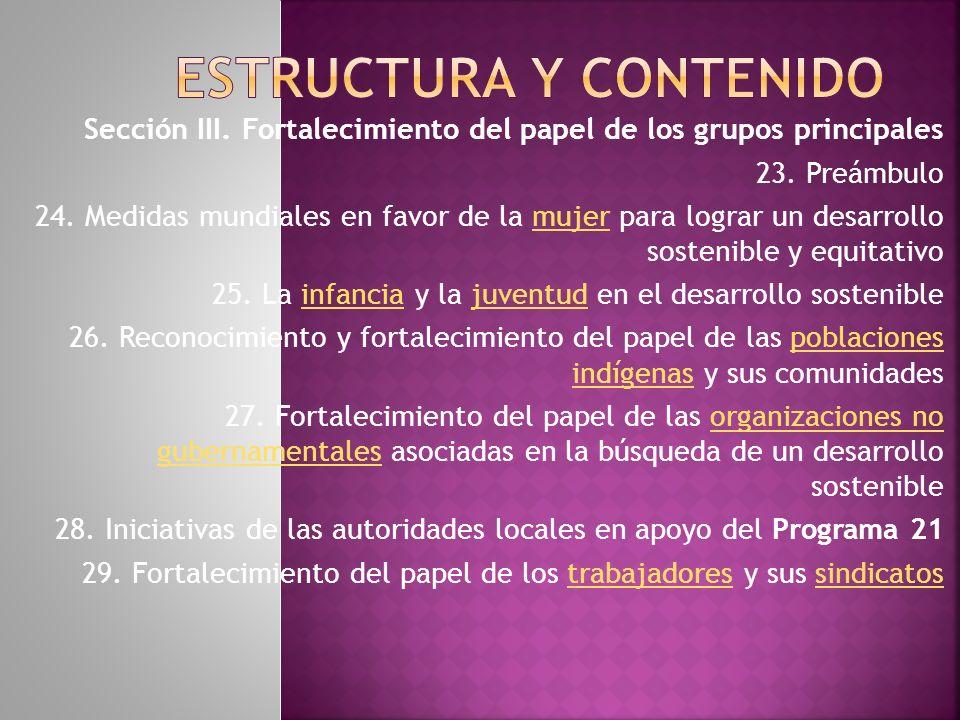Sección III.Fortalecimiento del papel de los grupos principales 23.