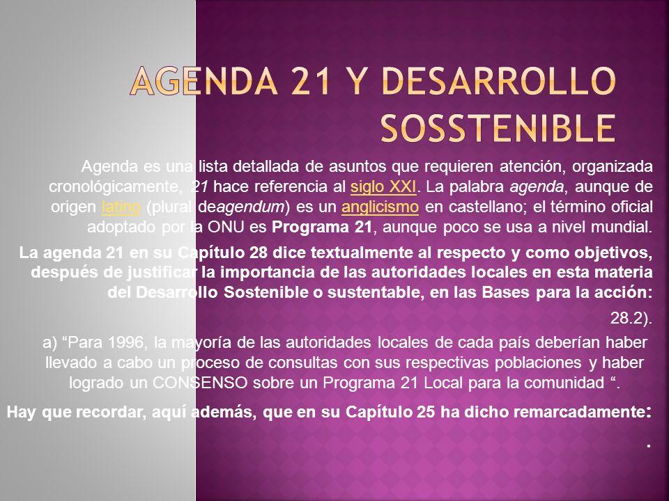 Agenda es una lista detallada de asuntos que requieren atención, organizada cronológicamente, 21 hace referencia al siglo XXI.