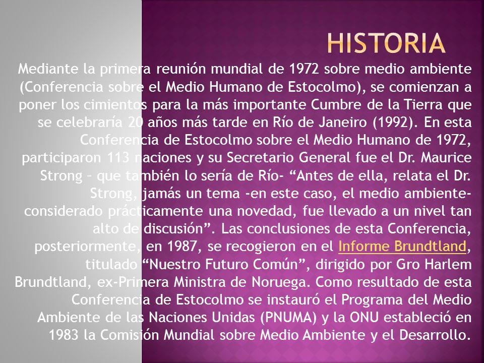 Mediante la primera reunión mundial de 1972 sobre medio ambiente (Conferencia sobre el Medio Humano de Estocolmo), se comienzan a poner los cimientos para la más importante Cumbre de la Tierra que se celebraría 20 años más tarde en Río de Janeiro (1992).