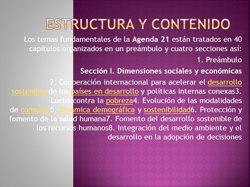 Los temas fundamentales de la Agenda 21 están tratados en 40 capítulos organizados en un preámbulo y cuatro secciones así: 1.