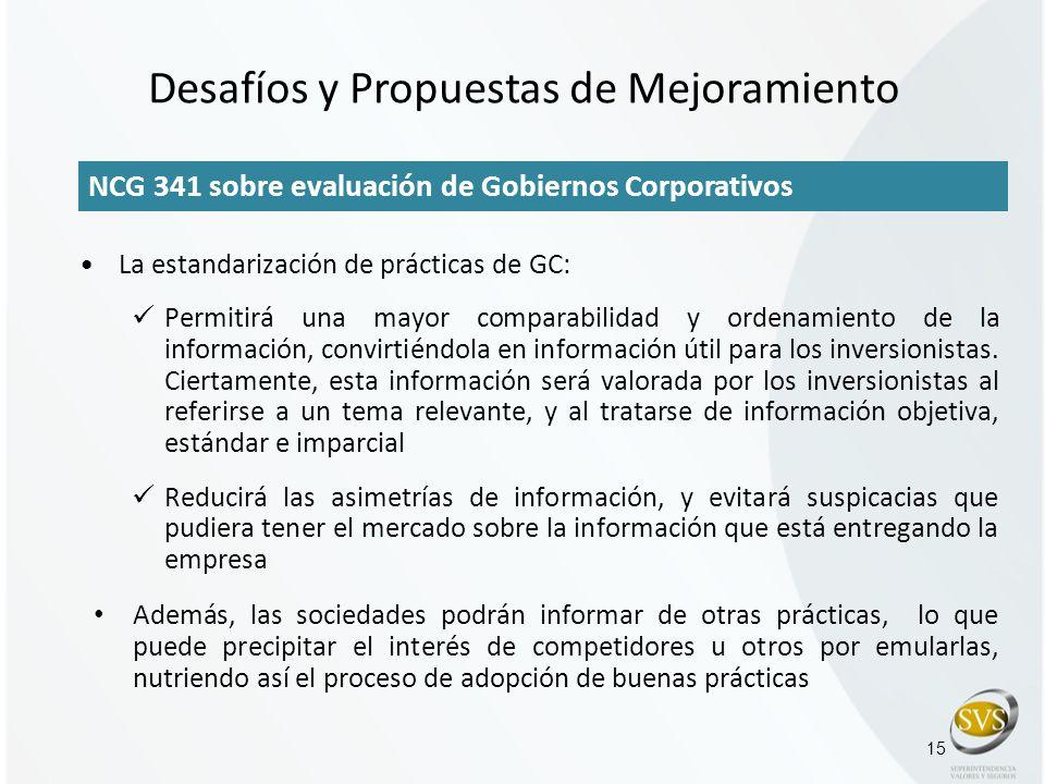 15 NCG 341 sobre evaluación de Gobiernos Corporativos La estandarización de prácticas de GC: Permitirá una mayor comparabilidad y ordenamiento de la i
