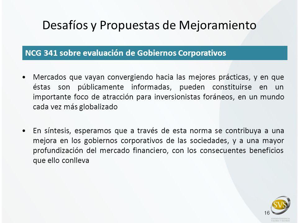 16 NCG 341 sobre evaluación de Gobiernos Corporativos Mercados que vayan convergiendo hacia las mejores prácticas, y en que éstas son públicamente inf