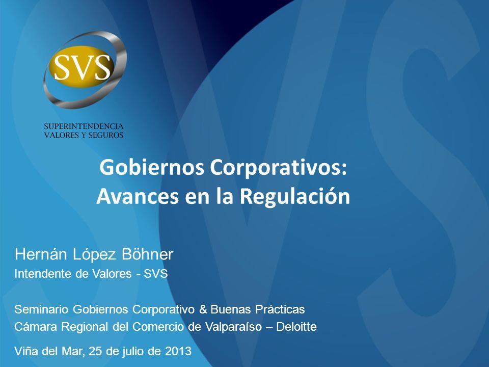 Gobiernos Corporativos: Avances en la Regulación Hernán López Böhner Intendente de Valores - SVS Seminario Gobiernos Corporativo & Buenas Prácticas Cá