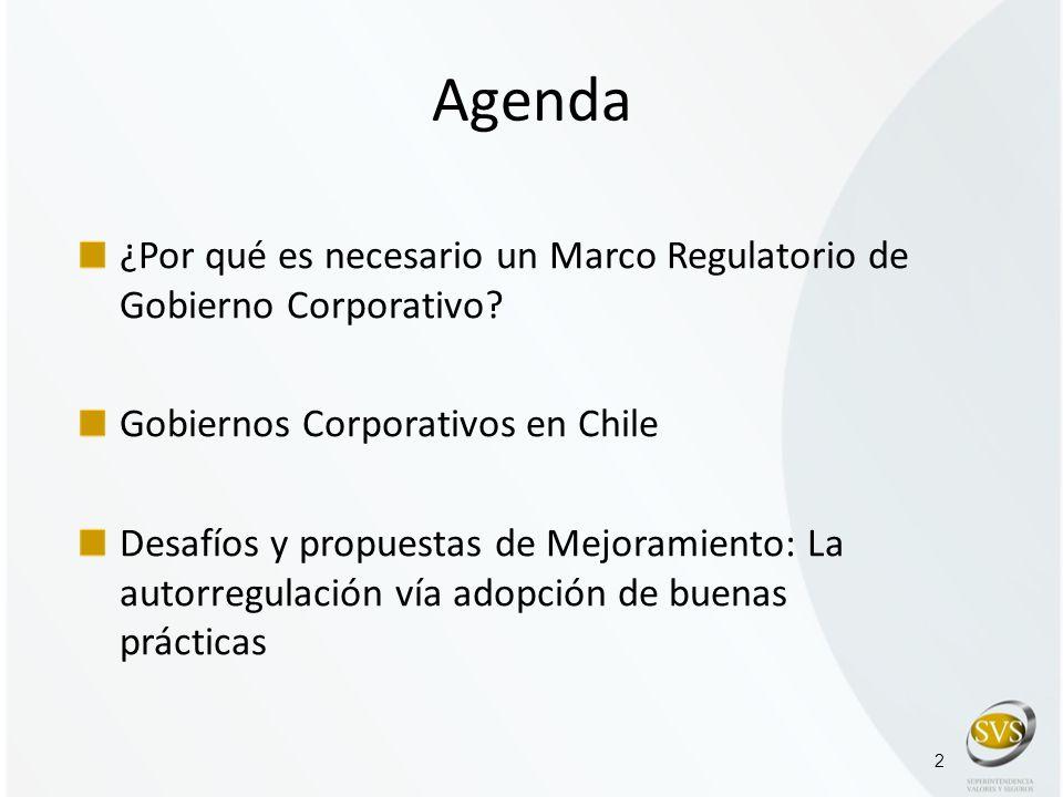 2 Agenda ¿Por qué es necesario un Marco Regulatorio de Gobierno Corporativo? Gobiernos Corporativos en Chile Desafíos y propuestas de Mejoramiento: La