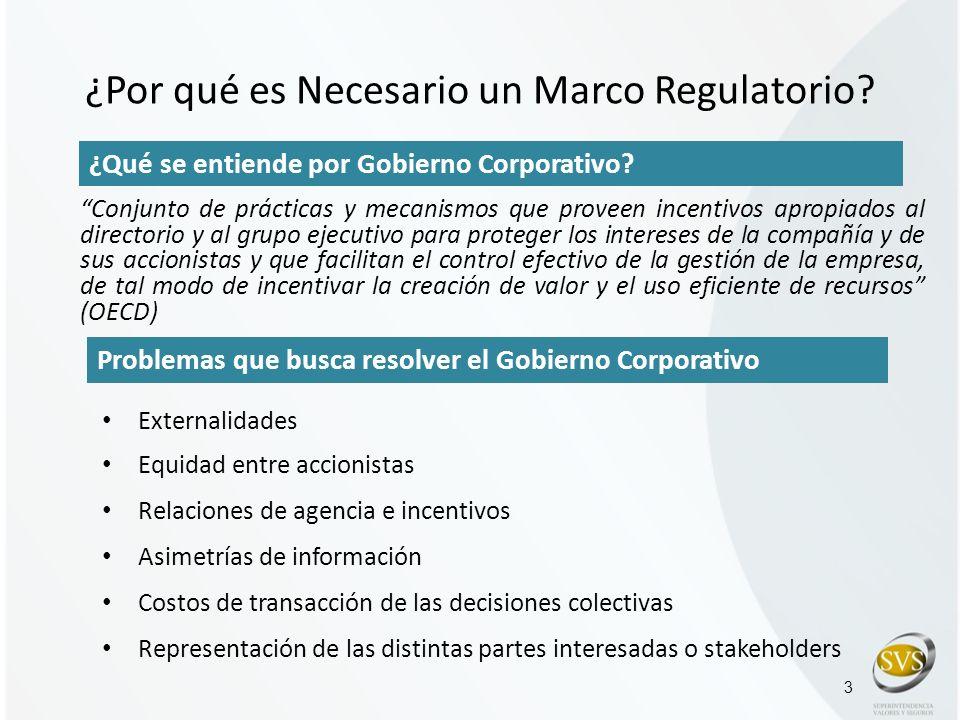 ¿Por qué es Necesario un Marco Regulatorio? Externalidades Equidad entre accionistas Relaciones de agencia e incentivos Asimetrías de información Cost