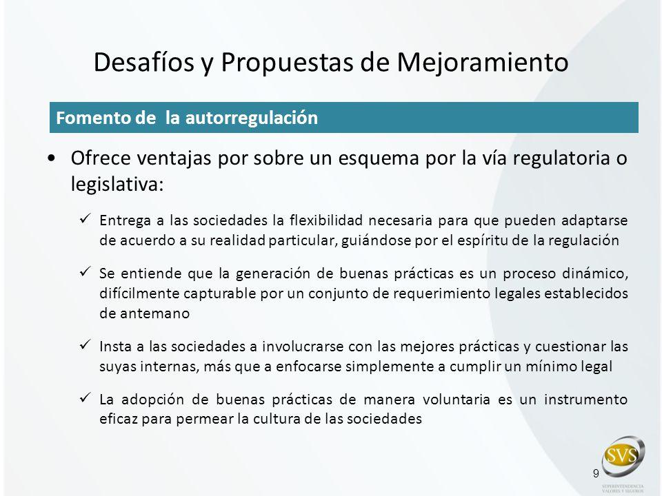 Desafíos y Propuestas de Mejoramiento 9 Fomento de la autorregulación Ofrece ventajas por sobre un esquema por la vía regulatoria o legislativa: Entre