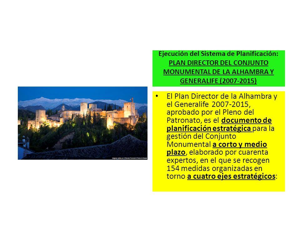 Ejecución del Sistema de Planificación: PLAN DIRECTOR DEL CONJUNTO MONUMENTAL DE LA ALHAMBRA Y GENERALIFE (2007-2015) El Plan Director de la Alhambra