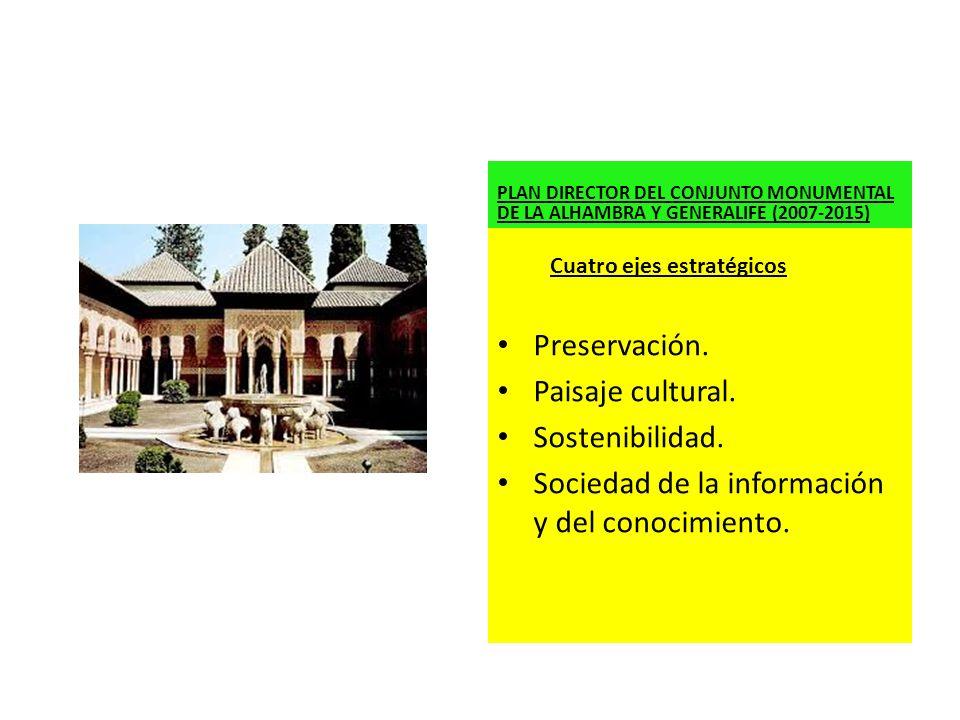 PLAN DIRECTOR DEL CONJUNTO MONUMENTAL DE LA ALHAMBRA Y GENERALIFE (2007-2015) Preservación. Paisaje cultural. Sostenibilidad. Sociedad de la informaci