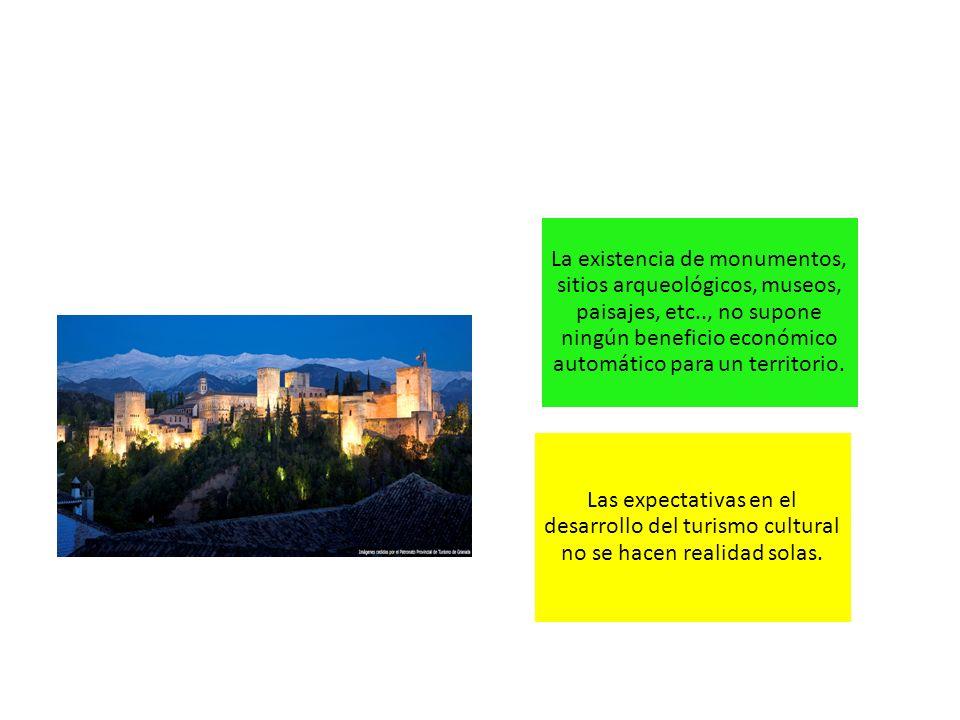 La existencia de monumentos, sitios arqueológicos, museos, paisajes, etc.., no supone ningún beneficio económico automático para un territorio. Las ex