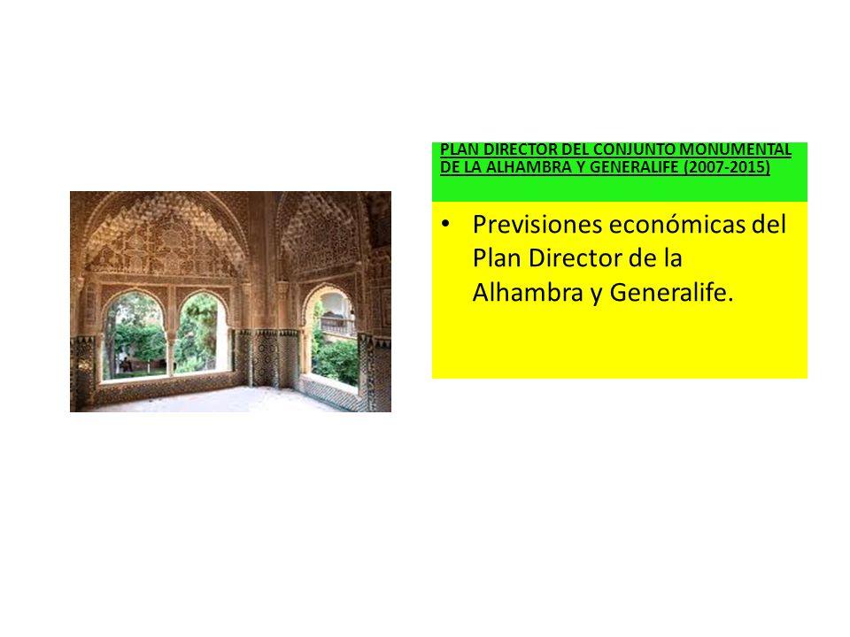 PLAN DIRECTOR DEL CONJUNTO MONUMENTAL DE LA ALHAMBRA Y GENERALIFE (2007-2015) Previsiones económicas del Plan Director de la Alhambra y Generalife.