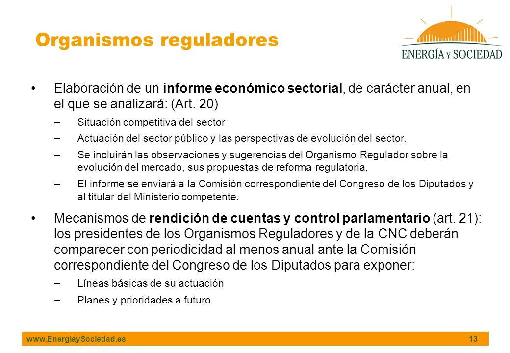 www.EnergíaySociedad.es 13 Organismos reguladores Elaboración de un informe económico sectorial, de carácter anual, en el que se analizará: (Art. 20)