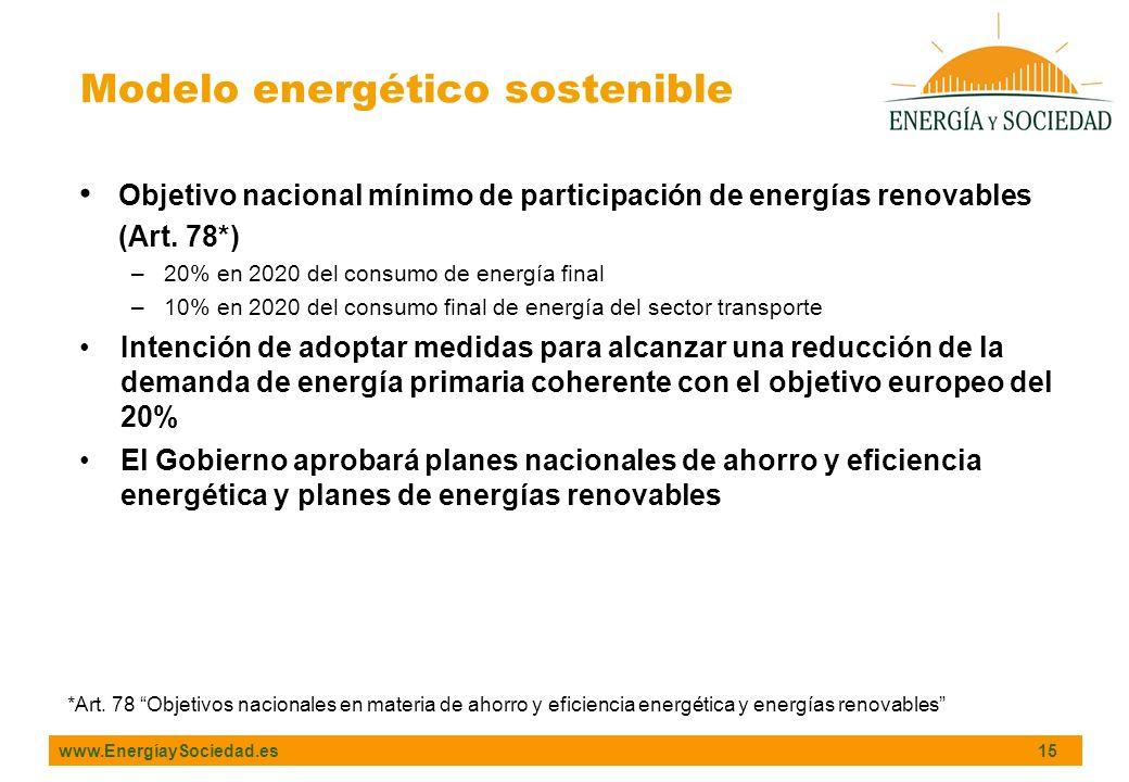 www.EnergíaySociedad.es 15 Objetivo nacional mínimo de participación de energías renovables (Art. 78*) –20% en 2020 del consumo de energía final –10%