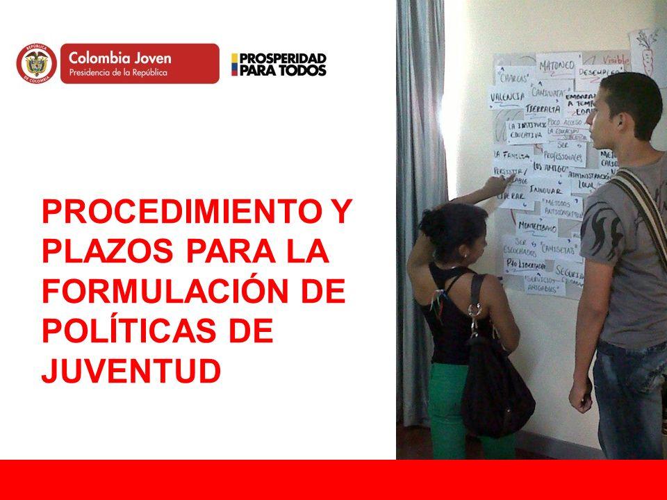 PROCEDIMIENTO Y PLAZOS PARA LA FORMULACIÓN DE POLÍTICAS DE JUVENTUD