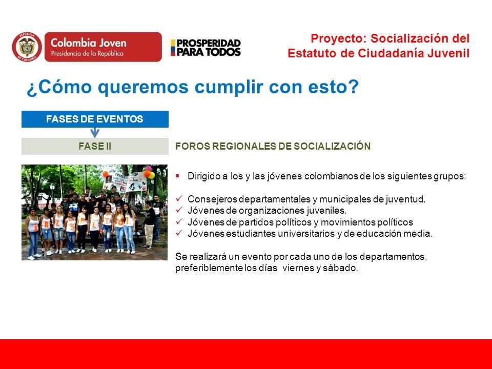 Proyecto: Socialización del Estatuto de Ciudadanía Juvenil ¿Cómo queremos cumplir con esto? FASES DE EVENTOS FASE IIFOROS REGIONALES DE SOCIALIZACIÓN