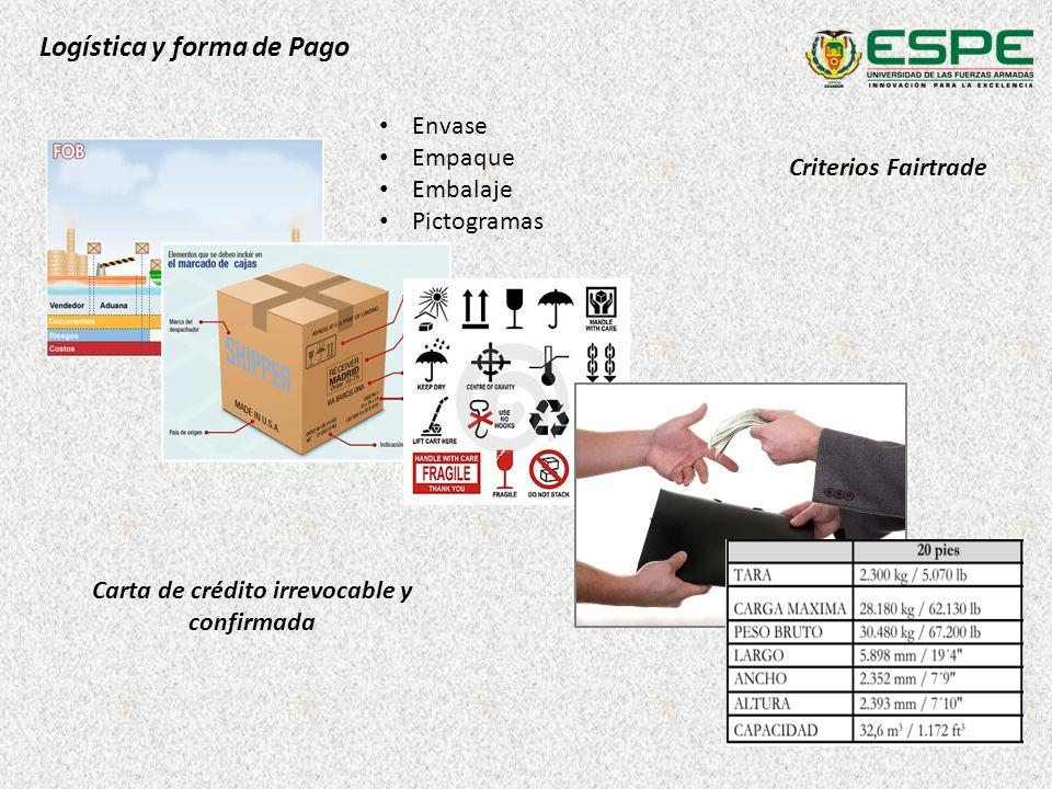 Logística y forma de Pago Criterios Fairtrade Carta de crédito irrevocable y confirmada Envase Empaque Embalaje Pictogramas