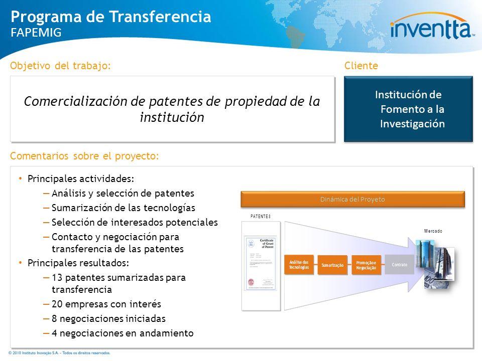 Institución de Fomento a la Investigación Comercialización de patentes de propiedad de la institución Cliente Dinámica del Proyeto Principales activid