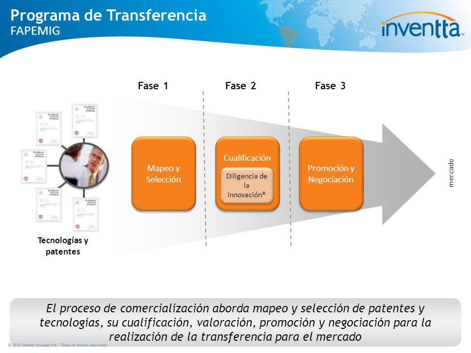 El proceso de comercialización aborda mapeo y selección de patentes y tecnologías, su cualificación, valoración, promoción y negociación para la reali