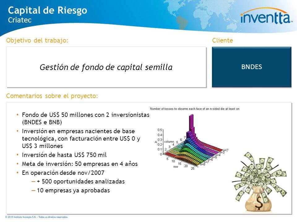 BNDES Gestión de fondo de capital semilla Cliente Capital de Riesgo Criatec Fondo de US$ 50 millones con 2 inversionistas (BNDES e BNB) Inversión en e