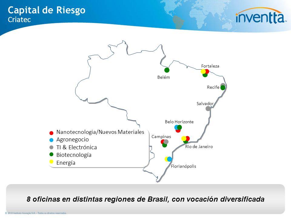 8 oficinas en distintas regiones de Brasil, con vocación diversificada Florianópolis Fortaleza Belém Rio de Janeiro Belo Horizonte Campinas Salvador R