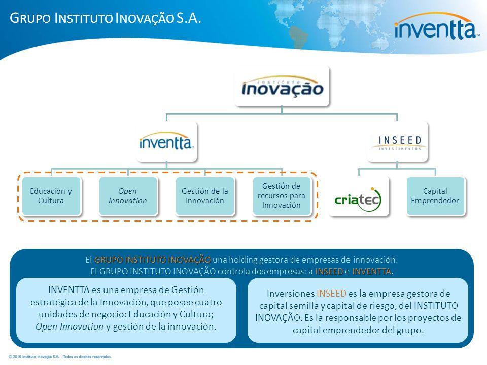 INSTITUTO InnovaciónInventta Educación y Cultura Open Innovation Gestión de la Innovación Gestión de recursos para Innovación InseedFondo Criatec Capi