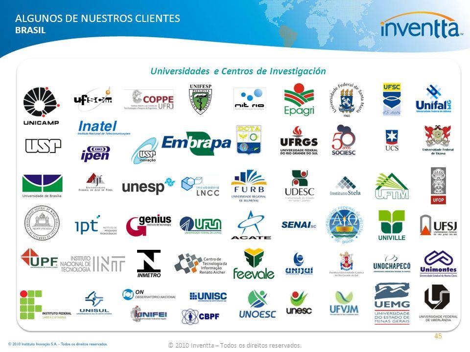 Universidades e Centros de Investigación 45 © 2010 Inventta – Todos os direitos reservados. ALGUNOS DE NUESTROS CLIENTES BRASIL