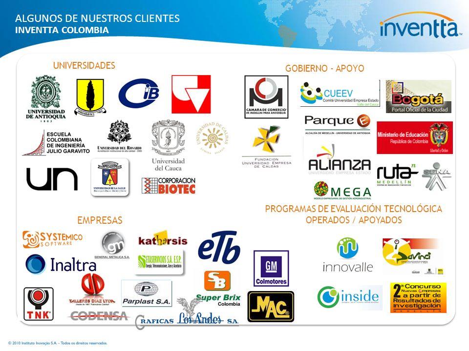 UNIVERSIDADES GOBIERNO - APOYO EMPRESAS ALGUNOS DE NUESTROS CLIENTES INVENTTA COLOMBIA PROGRAMAS DE EVALUACIÓN TECNOLÓGICA OPERADOS / APOYADOS