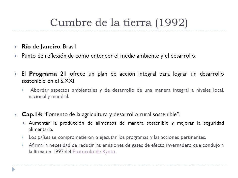 Cumbre de la tierra (1992) Río de Janeiro, Brasil Punto de reflexión de como entender el medio ambiente y el desarrollo.
