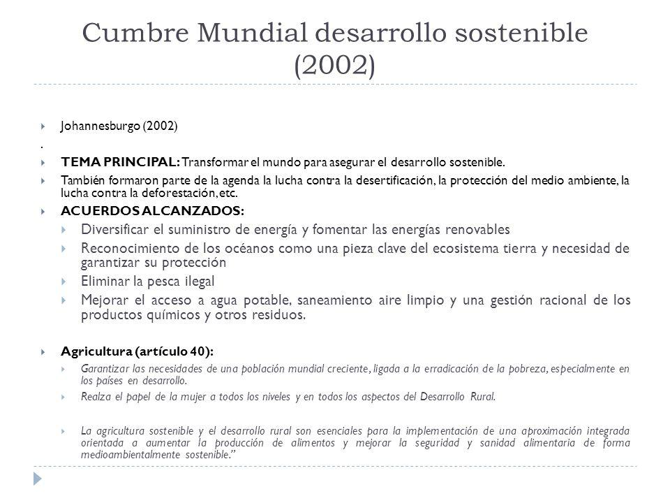 Cumbre Mundial desarrollo sostenible (2002) Johannesburgo (2002).