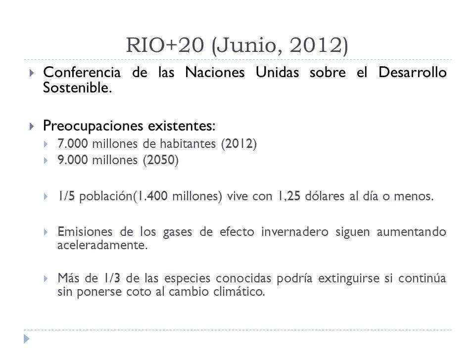 RIO+20 (Junio, 2012) Conferencia de las Naciones Unidas sobre el Desarrollo Sostenible.