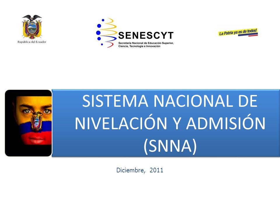 Diciembre, 2011 SISTEMA NACIONAL DE NIVELACIÓN Y ADMISIÓN (SNNA) SISTEMA NACIONAL DE NIVELACIÓN Y ADMISIÓN (SNNA)