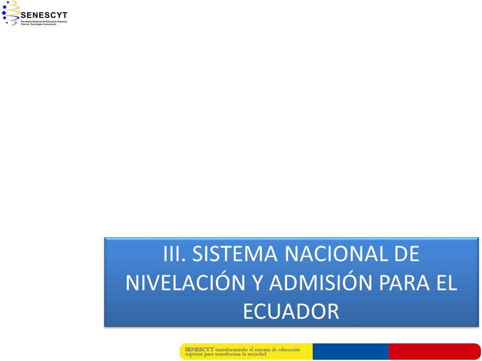 III. SISTEMA NACIONAL DE NIVELACIÓN Y ADMISIÓN PARA EL ECUADOR III. SISTEMA NACIONAL DE NIVELACIÓN Y ADMISIÓN PARA EL ECUADOR