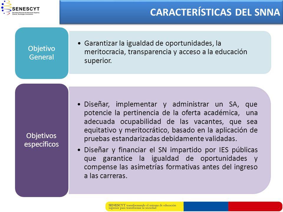 Garantizar la igualdad de oportunidades, la meritocracia, transparencia y acceso a la educación superior. Objetivo General Diseñar, implementar y admi