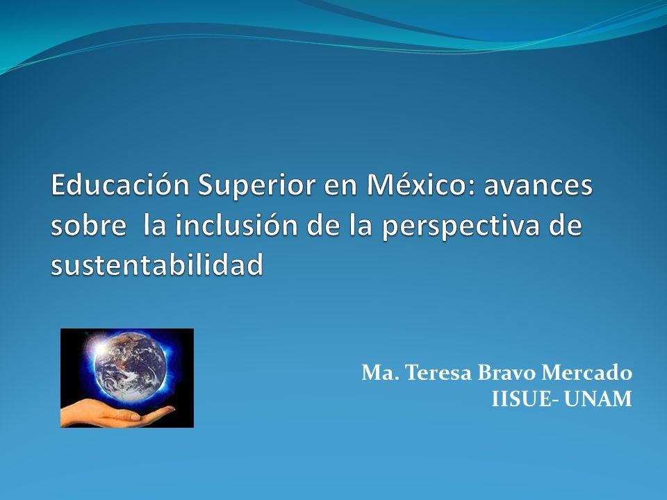 Identificación de avances en la educación superior en México sobre la inclusión de la perspectiva de sustentabilidad Aproximaciones a una agenda de investigación en el campo de la EAS en México