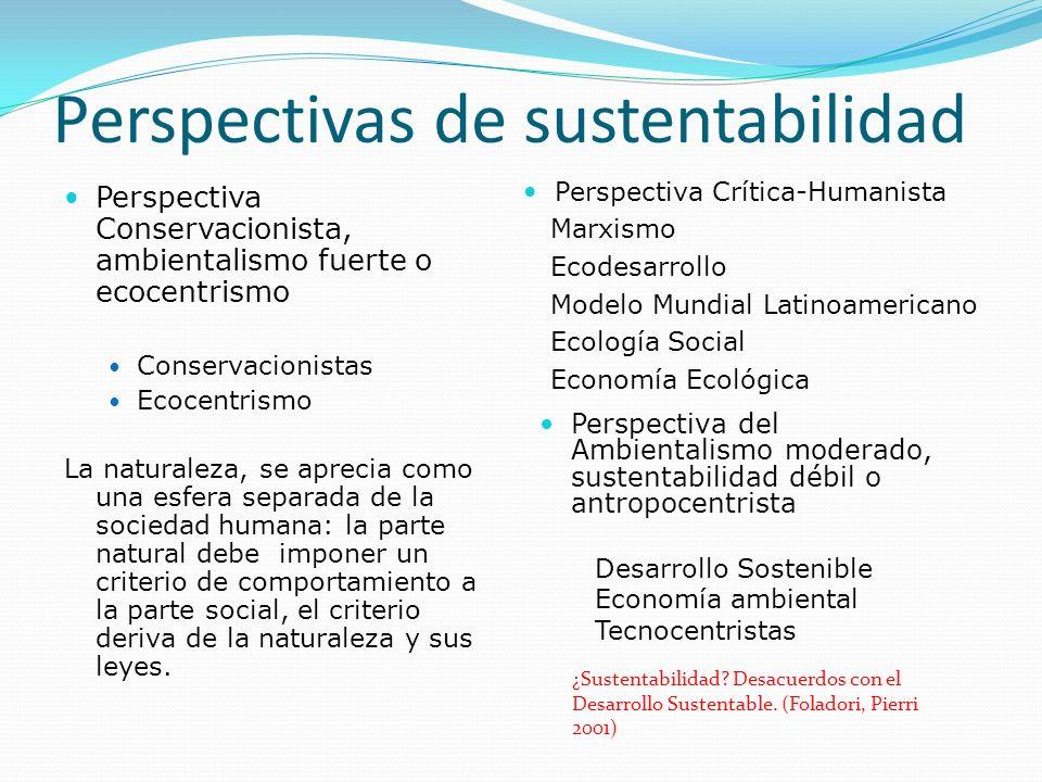 Perspectivas de sustentabilidad Perspectiva Conservacionista, ambientalismo fuerte o ecocentrismo Conservacionistas Ecocentrismo La naturaleza, se apr