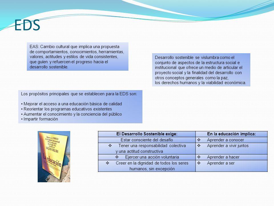EDS Los propósitos principales que se establecen para la EDS son: Mejorar el acceso a una educación básica de calidad Reorientar los programas educati