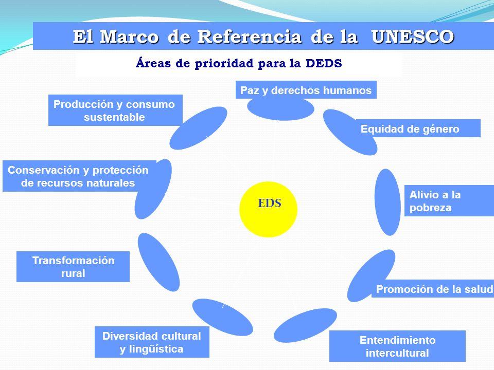 Áreas de prioridad para la DEDS El Marco de Referencia de la UNESCO EDS Paz y derechos humanos Diversidad cultural y lingüística Producción y consumo
