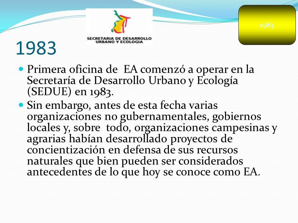 1983 Primera oficina de EA comenzó a operar en la Secretaría de Desarrollo Urbano y Ecología (SEDUE) en 1983. Sin embargo, antes de esta fecha varias