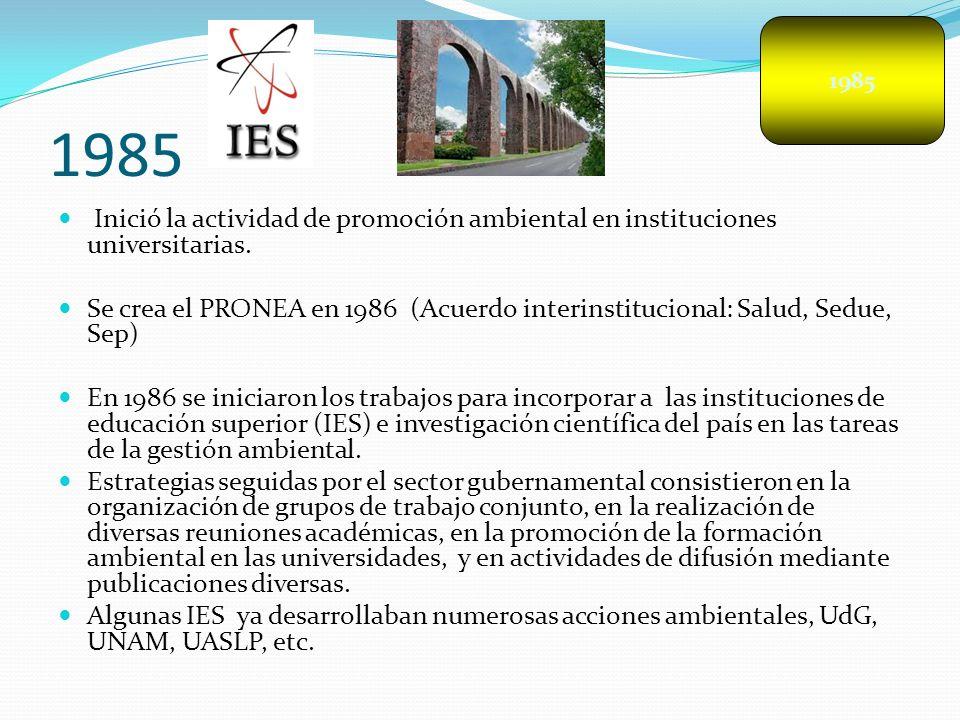 1985 Inició la actividad de promoción ambiental en instituciones universitarias. Se crea el PRONEA en 1986 (Acuerdo interinstitucional: Salud, Sedue,