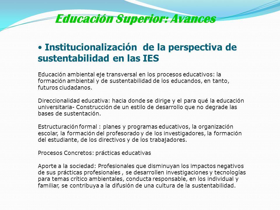 Institucionalización de la perspectiva de sustentabilidad en las IES Educación ambiental eje transversal en los procesos educativos: la formación ambi